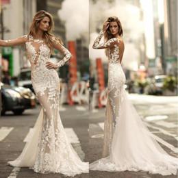 2020 Berta Sexy V Back Sheer Long Sleeve Vintage Lace Court Train Wedding Dresses Mermaid Bridal Gowns BA4688