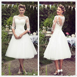 Great 1920s Vintage Lace Wedding Dresses 1 2 Long Sleeves Tulle Lace Applique Tea Length A Line Wedding Bridal Gowns robes de mariée