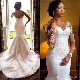African Vintage Mermaid Long Wedding Dresses 2019 New Designer Sheer Long Sleeves Lace Appliqued Wedding Bridal Gowns Corset Back BC0467