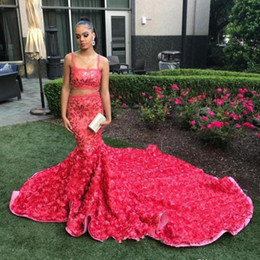 Hot Pink Floral Sequins Two Pieces Mermaid Prom Dresses 2019 African Black Girl Luxury 3D Rosettes Cathedral Train Evening Gowns BC1175