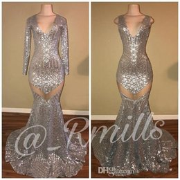 Real Photos Silver Sequin Mermaid Prom Evening Dresses Sparkle Long Sleeves V Neck Zipper Back Sexy See Through Evening Gowns
