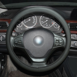 1 PC MEWANT Universal Ultra-thin Black Artificial Leather Steering Wheel Cover Wrap (Can Change Thread Color)