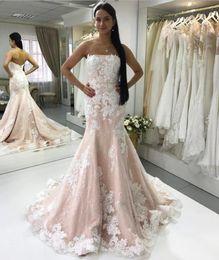 Pink Sequined Lace Mermaid Wedding Dresses 2019 Strapless White Appliques Sheath Bridal Dresses Zipper Back Wedding Gowns Vestidos de Novia