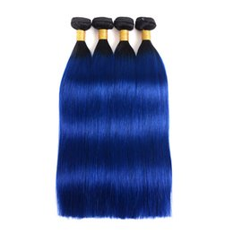 Brazilian Human Hair Weaves Ombre Human hair bundles 1B&Blue Straight Body Wave Wefts Human Hair Extensions 3 4bundles
