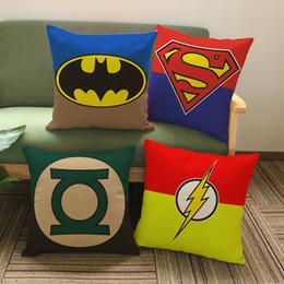 Super man Green Lantern Spider man Cushion Cover American Cartoon Hero Logo Linen Cotton Pillow Cover 45X45cm Sofa Chair Decoration