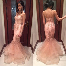 2019 Blush Mermaid Prom Dresses Strapless Backless Appliques Beads Long Arabic Formal Evening Party Gowns Special Occasion Dress Plus Size