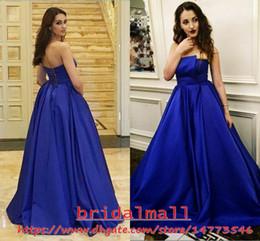 Simple 2019 Royal Blue Satin Long Prom Dresses Corset Back Formal Evening Gowns Floor Length Party Dress Celebrity Cheap Vestido de fiesta