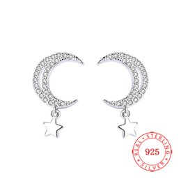 925 sterling silver moon and star stud earring for lady guangzhou high quality rhodium plated silver earring jewelry