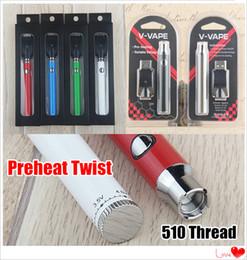 2019 Vape Kits Preheat Twist 2.0-4.0V Variable Voltage 510 Thread Battery 380 650 mAh Preheating Vape Pen Battery Blister Kits