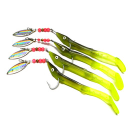 HENGJIA 50PCS Fishing Lures Laser Spinner Spoon Artificial Bait Soft Silicone Shad Jig Head Jigging Baits
