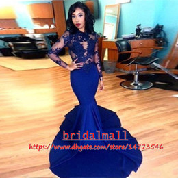 High Neck 2019 Sexy Royal Blue Long Sleeve Mermaid Prom Dresses Maxi Stretch Satin Formal Celebrity Gowns Lace Appliqued Party Evening Dress