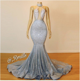 Stunning New Silver Bling Sequins Mermaid Prom Dresses 2019 Sexy Keyhole High Neck Illusion Top Long Ruffles Train Party Evening Gown BC0679