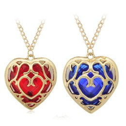 The Legend of Zelda blue red Heart Container necklace keychain gemstone hollow heart love pendants bag hang key rings 160791