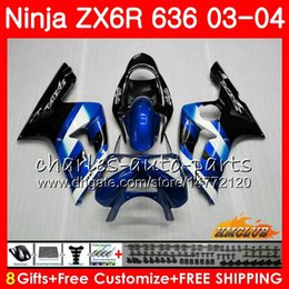 Body For KAWASAKI NINJA ZX600 ZX636 ZX-6R 03 04 blue factory ZX-636 36HC.43 ZX 636 6 R 600CC ZX6R 03 04 ZX 600 ZX 6R 2003 2004 Fairing kit