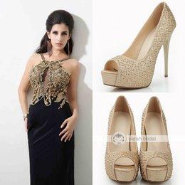 Wholesale Fashion Rhinestone Crystal Bridal Dress Shoes Open Peep Toe Stiletto High Heels Sparkling Champagne Women s Prom Party Evening Wedding
