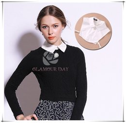 Wholesale Women s Detachable Collar Autumn Fashion All Match Practical Shirt Collar White Black Optional With Free Brooch Pure Cotton Collar