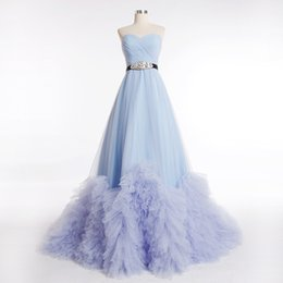 Wholesale New Arrival Quinceanera Dresses Sweetheart Court Train Tulle Draped Rhinestones Tiers Red Carpet Dresses W2858