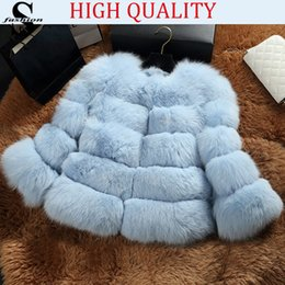 Wholesale Winter Womens Shaggy Fox Fur Coat Jacket Long Sleeve Crew Neck Warm Short Outwear Thicken Overcoat CJE1016