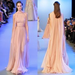 Wholesale Elie Saab Dresses Red Carpet Dresses with Shawl Ruffled Chiffon Vintage Long Evening Gowns Formal Dresses