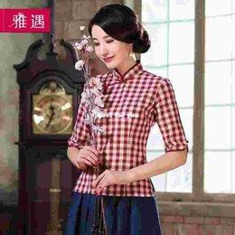 Wholesale 2015 new autumn and winter cotton cheongsam improved cheongsam fashion plaid long sleeved dress shirt Slim female