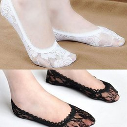 Wholesale 2015 Sexy Women Lace Hollow Socks Lady Leather Ballet Shoes Parner Yarn Woman Sock Lady Low Collar Socks White Black Nude Pink Blue D4413