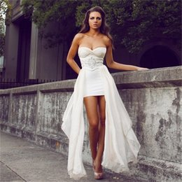 Wholesale White High Low Prom Dresses Cheap Elegant Sexy Beaded Chiffon Backless Club Evening Dress Party Gown Custom made