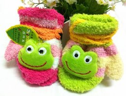 Wholesale Retail Korean children aged full finger gloves winter warm gloves knitted gloves bab flowers gloves