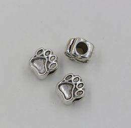 Hot! Tibetano Paw prata imprime espaçadores Big Hole Beads Fit Charm Bracelet 11 * 10 milímetros (00780)