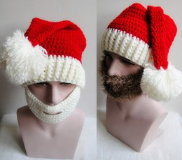 online shopping Crochet Hat Beard Set Christmas Hat Handmade Santa Cap Beard Mask Set Wool Knit Hat Fashion Accessories