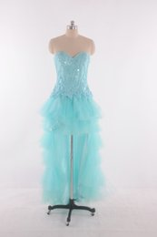 Wholesale 2015 Real Picture100 Aqua Prom Dresses Cascading Ruffles Back Zipper A Line sexy Pageant Dress Fashion Cheap Party Dress