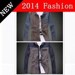 Wholesale 2014 fashion men causal shirt camisas masculinas long sleeve casual shirt striped denim plus size winter dress autumn LP