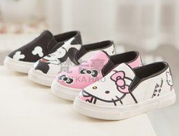Wholesale Boys Casual Shoe Girls Shoes Cartoon Mouse KT Cat Canvas Autumn Korean Kids Sneakers Antiskid Footwear Yard Black Pink I4161