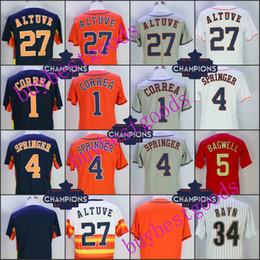 Men's 27 Jose Altuve 4 George Springer 1 Carlos Correa 35 Justin Verlander  34 Nolan Ryan 5 Jeff Bagwell Biggio Keuchel Champions Jerseys cheap  baseball ...