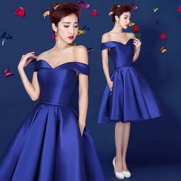 Wholesale 2015 Royal Blue Off Shoulder Homecoming dress Taffeta Knee Length Short Teens Prom Dress th Graded Graduation Dress custom made