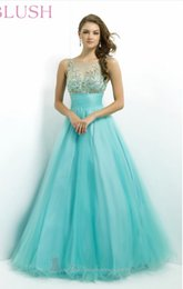 Wholesale Dazzling Aqua Gold Crystal Beaded Bateau Neckline With A Line Tulle pleated waist Special Occasion Prom Evening Dresses