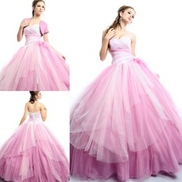Wholesale 2015 Quinceanera Ball Gowns with Jackets Cheap Grils Pageant Gowns Sweetheart Beaded Sweet Prom Dresses
