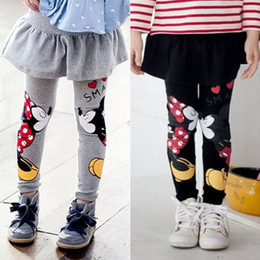 Wholesale Baby Kids Girl Stretch Pantskirt Cartoon Mickey Minnie Jeans Leggings Pants Grey and Black for age Y