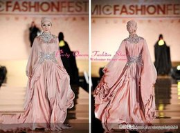 Wholesale 2016 Muslim Evening Dresses with Hijab High Neck Long Sleeves Beads Lace Abaya Kaftan Dubai Arabic Dresses Party Prom Dresses