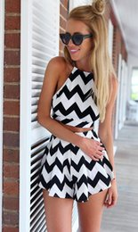 Wholesale Black White Striped Playsuit Two Pieces Women Jumpers and Rompers Backless Summer Playsuit Short Female