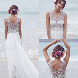 Wholesale 2016 Anna Campbell Wedding Dresses Beading Crystals Sleeveless Summer Chiffon Beach Bohemia Wedding Gowns Long Boho Custom Made Bridal Dress
