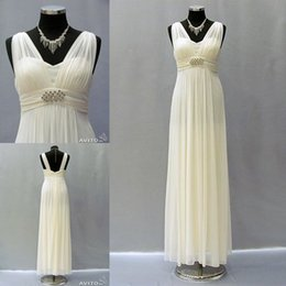 Wholesale Real Pictures Greek Style Wedding Dresses Robe de mariage Grecian Long Chiffon Beach Bridal Gowns V Neck Floor Length Vestidos de Novia