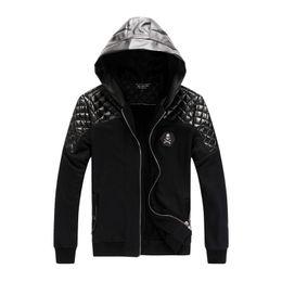 Wholesale Fall new arrival men s hoodies sport psg sweater Europe America fall winter fashion mosaic Cardigan cotton coat leather jacket