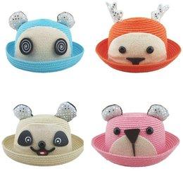 Wholesale 2015 hot summer HT new children s straw bucket hats animal labeling children hat children baby hat A070707