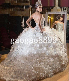 Wholesale Modest Luxury Sparkly Crystal Beaded Ball Gown Wedding Dresses berta Plus Size Custom Make Amazing Ruffles Backless Wedding Gown