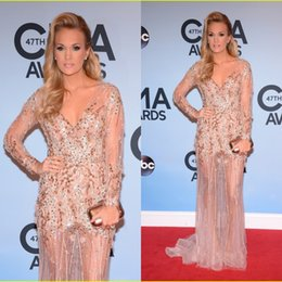 Wholesale 2014 Red Carpet Celebrity Dress CMA Carrie Underwood V neck Sheath Lace Beaded Illusion Long Sleeve Sequins Evening Gowns Party Formal