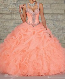 Wholesale Stunning Peach Organza Ball Gown Quinceanera Dresses Sheer Beads Crystal Draped Cheap Fashion Princess Dress Plus Size Hot Sale