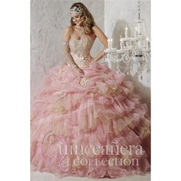 Wholesale 2015 Quinceanera Dresses Luxury Beaded Strapless Quinceanera Gowns With Appliques Tiered Cascading Ruffled Bodice Ball Gowns Dresses