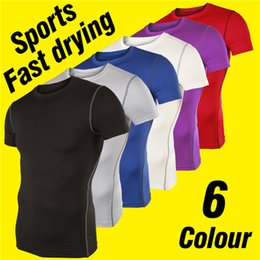 2017 wholesale shirts for summer Quick Dry Crew Neck T-shirts for Men Summer Spandex Sporting T-shirts for Boys Casual Slim Solid Color Shirts R21