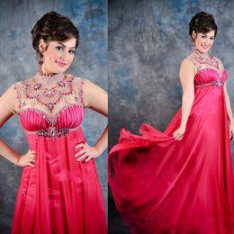 Wholesale 2015 Graceful High Neck Arabic Kaftan Evening Dresses With Sleeves Beads Crystal Ruffles Long Abaya Dubai Chiffon Evening Gowns Plus Size