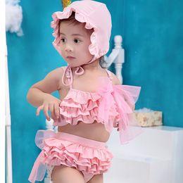 Wholesale 2015 New Hot Baby Summer Candy Pink Cute Girls dress Split Skirt Kids Bikini Set Children Swimwear Girls Swimsuit Cotton